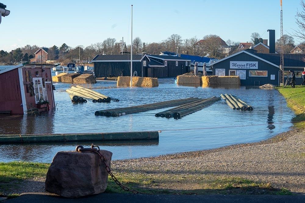 Oversvømmelse Vordingborg nordhavn 2. januar 2019