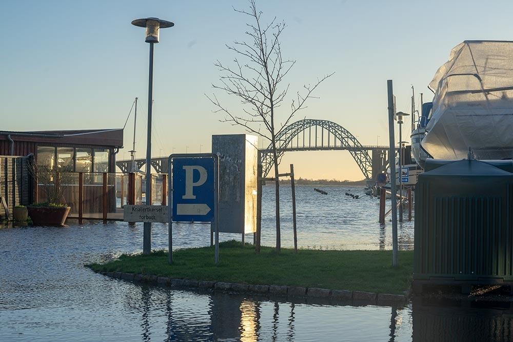 Oversvømmelse Kalvehave havn 2. januar 2019