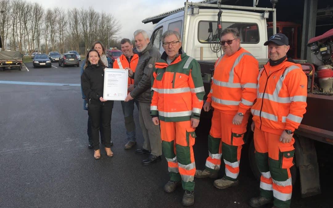 Trafik, Park og Havne i Vordingborg Kommune får certificeret sit arbejdsmiljø