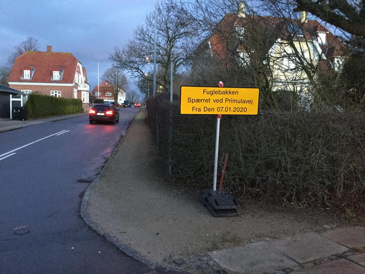 Lukning af Fuglebakken ved Primulavej i Vordingborg fra tirsdag den 7.  januar 2020